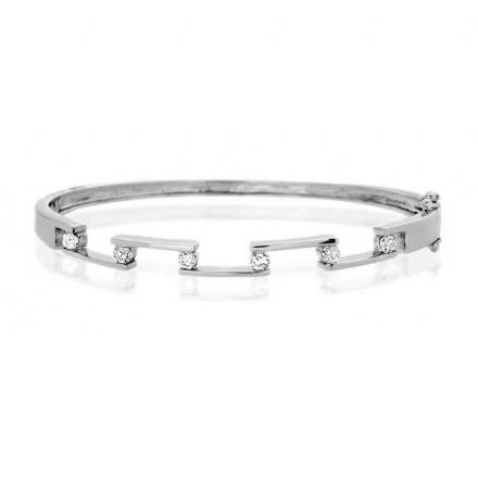 9K White Gold 0.45ct Diamond Bangle, J1050